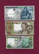 Portugal Set 20 + 50 + 100 Escudos 1978 - 1985 Unc P-174 And P-176 And P-178