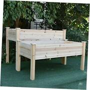 2 Tier Elevated Raised Garden Bed Planter Box For Flower Vegetable Grow Brown