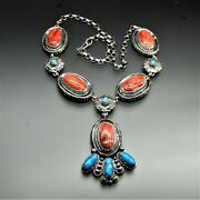 Handmade Sterling Silver Sleeping Beauty Turquoise Red Spiny Oyster Necklace 23