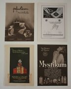 1925 Antique Lot Of 4 French Perfume Art Deco Lithograph Print Mag Ads Hal Phyfe