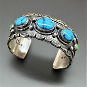 Handmade Sterling Silver Green Blue Turquoise Stamped Wide Cuff Bracelet 7.5