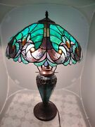 Style 24 Turquoise Teal Blue Stained Glass Bell Shaped Table Light Lamp