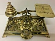 Antique Brass Post Scale Cast Balance With English Floral Decorations End 19th