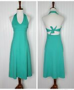 Morning Glory Teal Green Halter Tie Back Dress Women's Size Small