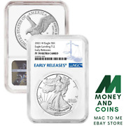 Presale - 2021-w Proof 1 Type 2 American Silver Eagle Ngc Pf70uc Blue Er Label