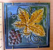 Antique Ceramic Tile Minton, Hollins And Co, Stoke On Trent Majolica Grapes And Vine