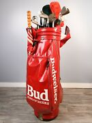 Rare Vintage Budweiser Red Golf Bag With Cobra King Club Set And Much More
