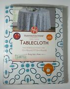 Huntington Home Floral White Blue Cotton Water Repellent 70 Round Tablecloth