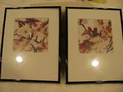 Asian Design Floral Framed Prints For Wall Hanging-set Of 2-mat Around Pictures
