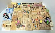 Random Assortment Of 140+ Rubber Stamps Plus 11 Ink Pads - Stampin' Up + Others