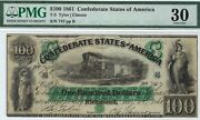 T-5 Pf-1 100 Confederate Paper Money 1861 - Pmg Very Fine 30 - New Orleans
