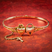Antique Victorian Heart Bangle Padlock And Key 9ct Gold Dated 1892