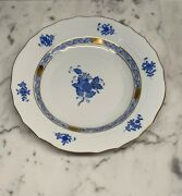 """Herend Chinese Bouquet Blue 8"""" Salad Plates Set Of 10"""