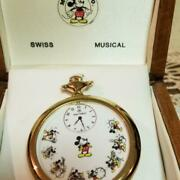 [w/box] Mickey And Co. Swiss Musical Pocket Watch Disney Wooden Box From Japan