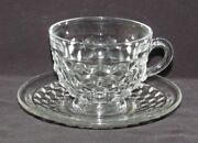 Fostoria Glass Co. American Crystal Footed Cup And Saucer Set