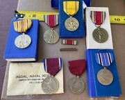 Vintage Military Medals Button And Pin Lot