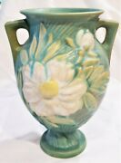Roseville Pottery 2 Handled Peony Vase 169-8 Green White Coloration