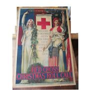 Antique Wwi Red Cross Poster Christmas Roll Call 1918 Linen Backed Powerful