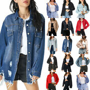 Ladies Summer Casual Coat Fashion Denim Jacket Jeans Buttons Outwear Crop Tops