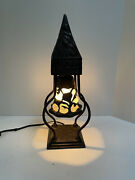 Vintage Style Cast Iron Table Lamp Frosted Glass Hanging Bell Detail Deer Woman