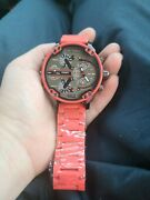 Diesel Mr. Daddy 2.0 Red Stainless Steel Case With Red Silicone Strap Menand039s Wriandhellip