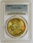 Toned 1885-o Morgan Silver Dollar From The New Orleans Mint Pcgs Graded Ms64