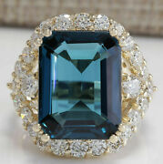 9.42 Ct Emerald Cut Natural Topaz Real Solid 14k Yellow Gold Diamond Ring