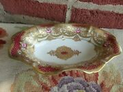 Antique Rc Nippon Hand Painted Floral Rose Heavy Gold Bead Porcelain Relish Dish