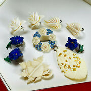 Mixed Lot Vintage/antique Carved Flower Brooches/pins/earrings