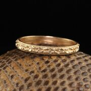 Antique Art Deco 14k Yellow Gold Engraved Wedding Band - Size 9