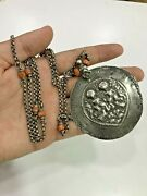 Rare Antique 17th Handcrafted Silver India Necklace Coral Stone Charm Pendant
