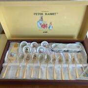 Peter Rabbit Cutlery Set Spoon Fork Cake Server Spoon Rest Cloisonne Gold Plated