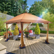 Outdoor Pop Up Gazebo Canopy With Mosquito Netting And Solar Led Light