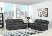 89 X 40 X 40 Modern Gray Leather Sofa And Loveseat