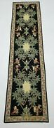 Vintage Hand Made French Design Black Wool Aubusson Rug Runner 291x73cms