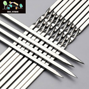 Bbq Skewers Flat Stainless Steel Barbeque 10pcs 38cm Reusable Free Shipping