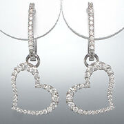 Hoop And Amulet - 750/18k White Gold -brillanten 082 Ct Tw / Si - Total 0.1oz