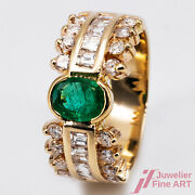 Ring - 14k Gg - 1 Emerald Approx. 1 Ct +26 Diamonds Together - Tw / Vsi - 0.3oz