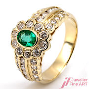 Ring - 18k Gg - 1 Emerald 0,50 Ct +38 Brill. Together 1,25 W/ Si - 0.2oz - Size