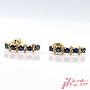 Earrings - 18k Gg - 16 Diamonds Together Approx. 020 Ct - 10 Sapphire Set 050