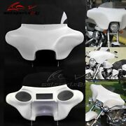 White Motorcycle Cruiser Fairing Batwing 6x9 Speakers W/ Windshield For Harley