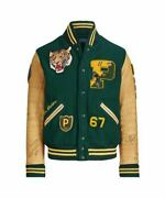 Polo Large Letterman Varsity Jacket Leather Rrl Rugby Green Tiger S