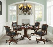 3 In 1 Poker Bumper Pool Tobacco Finish Dining Game Table Rolling Arm Chairs Set