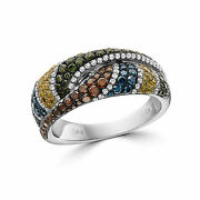 Levian Ring 1 1/4 Cts Blue Green And White Natural Diamonds In 14k White Gold