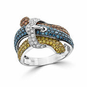 Levian Ring 2 1/8 Cts White Green Blue Natural Diamonds Set In 14k White Gold