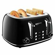 Toasters 4 Slice Retro Stainless Steel Bagel Toaster With Wide Slots Black
