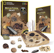 National Geographic Mega Fossil Dig Kit – Excavate 15 Real Fossils Dino And Shark