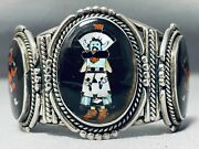 One Of The Best Ever Vintage Zuni Kachina Sterling Silver Turquoise Bracelet