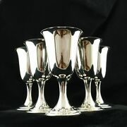 Alvin Set Of 6 Water Goblets S249 Sterling Silver Chalice Hollowware Barware