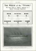 1912 - Titanic Disaster Wreck Sos Cqd Morse Code Cherbourg Night Departure 19